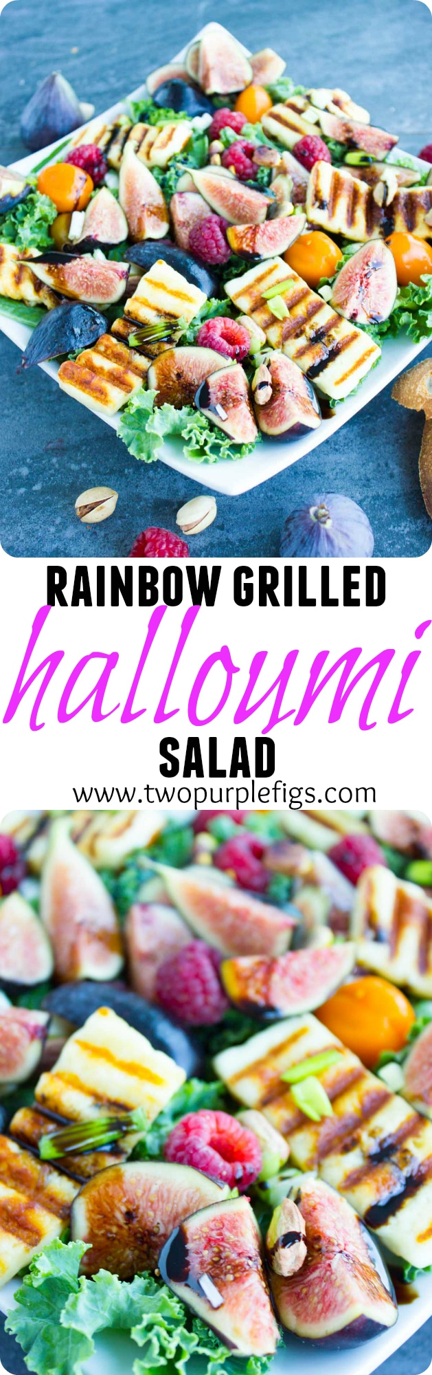 Try this Rainbow Power Grilled Halloumi Salad recipe! Drizzled with fig balsamic reduction this gourmet salad is sophisticated enough to impress, yet simple, fresh and healthy enough for you to whip up and enjoy any day of the week! #halloumirecipes, #saladrecipes, #healthysalad, #summerrecipes