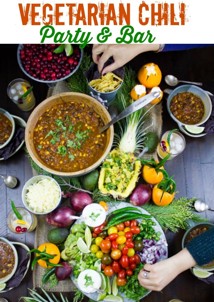 Vegetarian Chili Part & Bar | We're not only making a Vegetarian Chili Recipe today, but we are also throwing a whole Chili party and set up a chili bar with toppings and homemade pineapple salsa - a display that brings everyone together for pure comfort and joy! #vegetarianchili, #chilirecipe