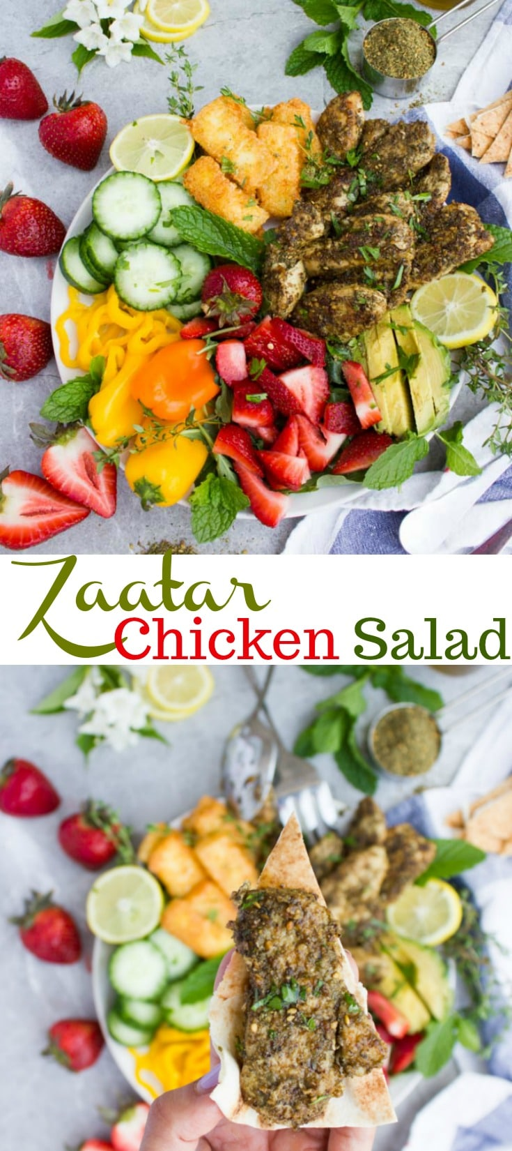 This healthy Mediterranean Za'atar Chicken Salad with Fried Halloumi is a must-try - bold in flavor with a bright and zesty touch, and ready in 30 minutes. No need for fancy dressings. A squeeze of lemon juice and olive oil is all you need #friedhalloumi, #zaatarchicken