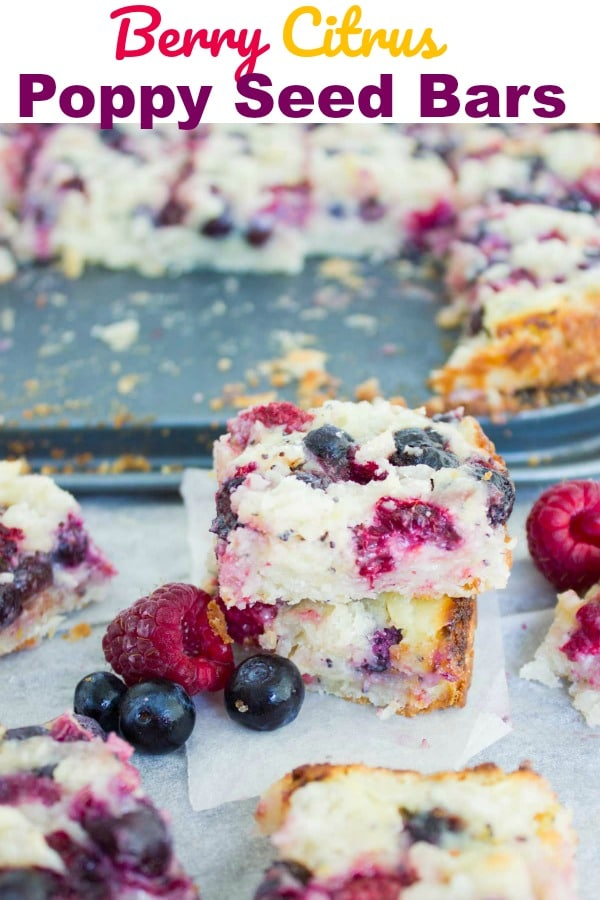 Berry Citrus Poppy Seed Bars | This berry citrus poppy seed bars recipe is a refreshing way to sweeten your day. Raspberries and blueberries are scattered on a thin layer of citrus cream cheese poppy seed filling and topped with cookie crumbles. #cake, #bars, #sweet, #dessert, #berries, #streusel