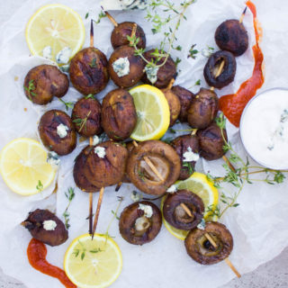 Buffalo Grilled Mushrooms with Blue Cheese Sauce