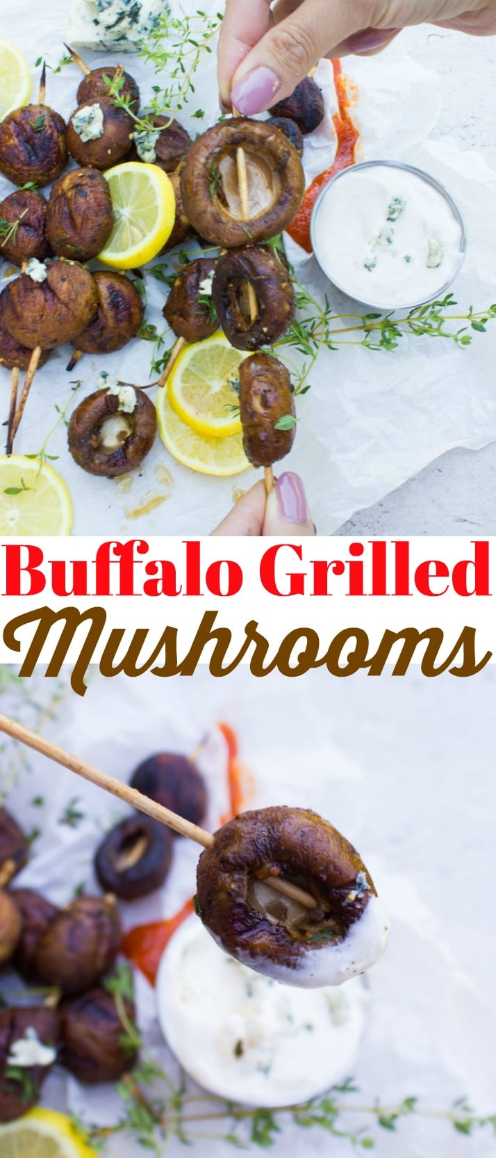These delicious Buffalo Grilled Mushrooms with Blue Cheese Sauce are the best grilled mushrooms you'll ever make! Tossed in a luscious spicy, zesty and buttery sauce, these mushrooms are packed with flavor!