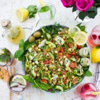 Long Pin for Mediterranean Farro Salad with a Sweet Zesty Lemonade Dressing