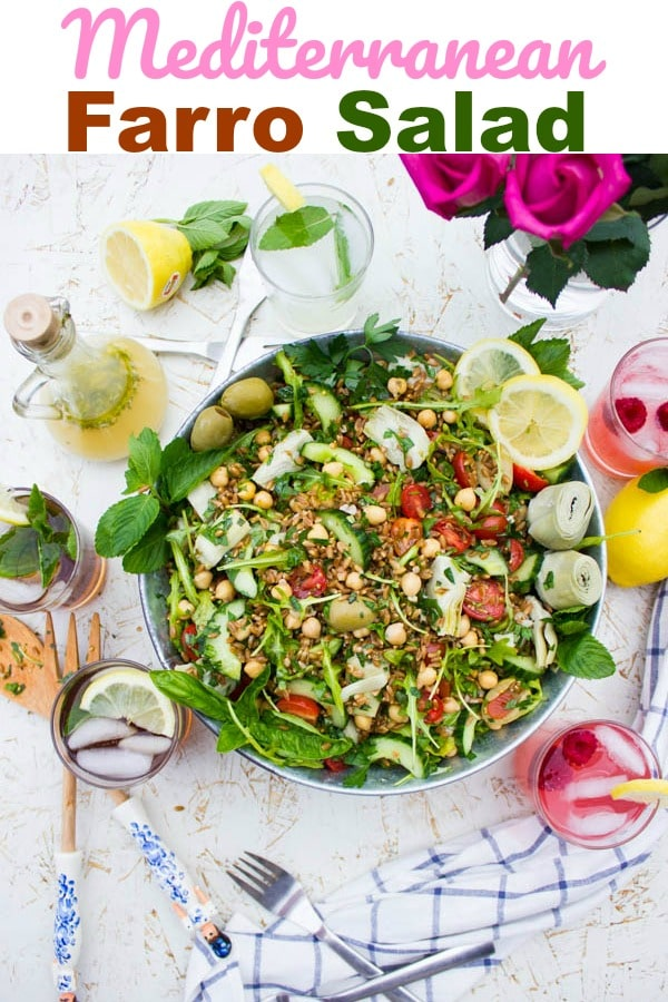 Mediterranean Farro Salad with Lemonade Dressing. This Mediterranean salad is as scrumptious as it sounds and as easy as can be! It's the kind of salad you can have as a full meal or you can pair it with grilled meat or fish! #salad, #dressing, #chickpeas, #farro, #Italian, #vegetarian, #side,
