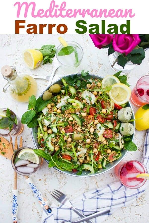 Long Pin for Mediterranean Farro Salad with a Sweet Zesty Lemonade Dressing