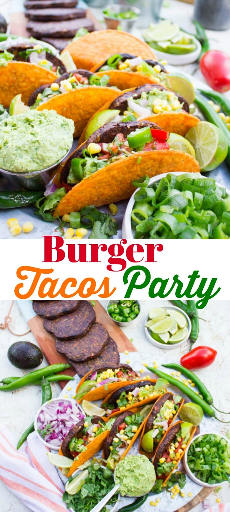 This is not your average Tacos Party, it's a Burger Tacos Party! Veggie burgers grilled to perfection in a crunchy taco shell with all your favorite tacos fixings and more. Make some room for this one of a kind, almost too good to be true tacos party! #tacos #burgers #vegan #tacosparty