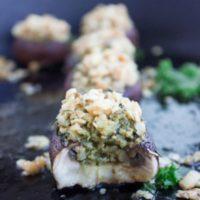 Long Pin Kale Pesto Stuffed Mushrooms