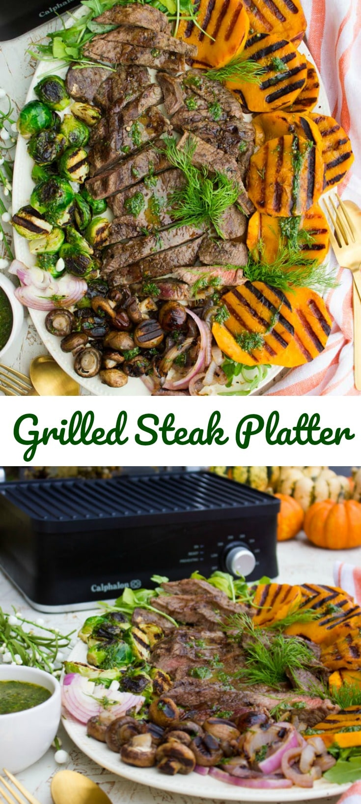 This Grilled Steak and Fall Veggies Platter is the perfect  plate to share this season! There's something for everyone, it comes together in minutes and it's a burst of flavor and freshness from a sweet dill dressing!