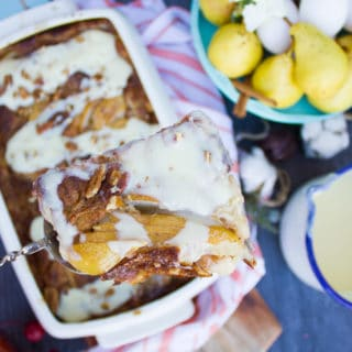 Pear Croissant Bread Pudding with Creme Anglaise