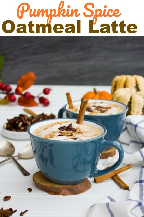 This Pumpkin Spice Oatmeal Latte recipe is like a dream come true for pumpkin oatmeal lovers and pumpkin spice latte lovers. It's a divine blend of these two treats and to even more, it's topped with a chocolate pumpkin seed crunch that's t die for! #PumpkinSpice #Oatmeal #Latte