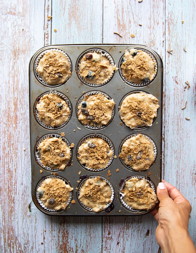 bran muffin tray ready for the oven