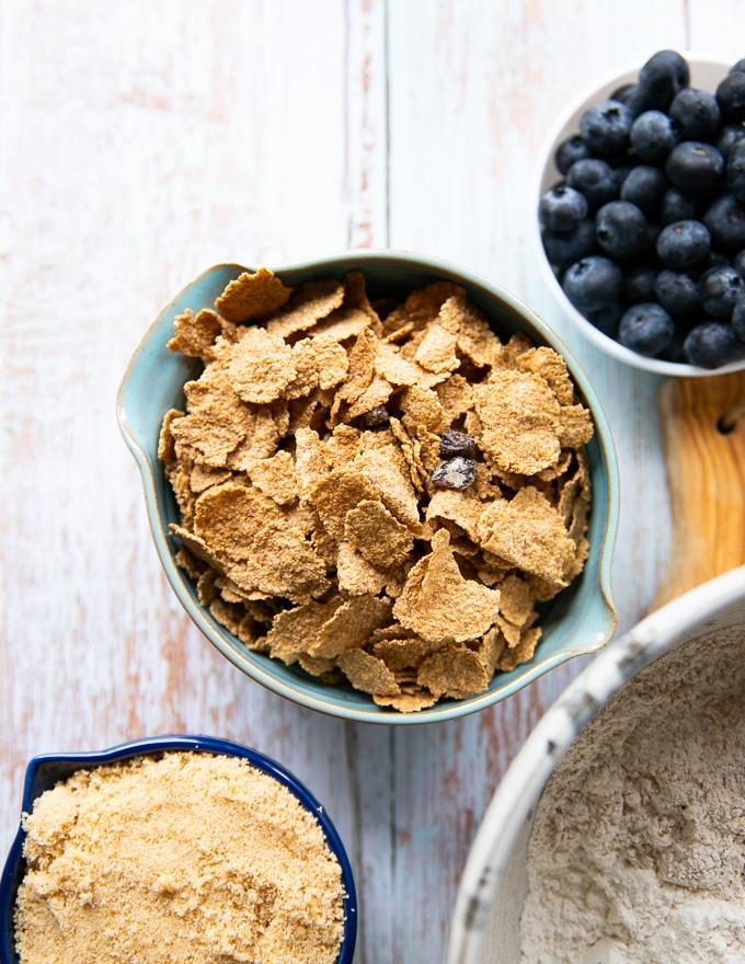 a bowl of raisin bran cereal to make bran muffins
