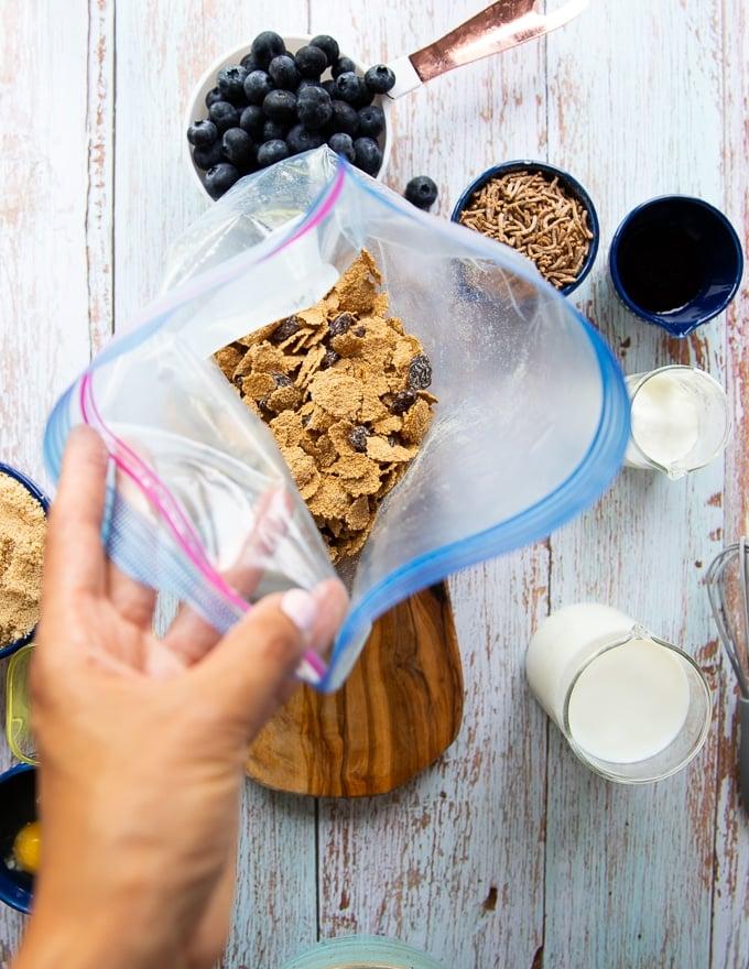 bran cereal in a ziploc bag