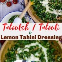 Long Pin for Tabouleh or Tabouli with Lemon Tahini Dressing