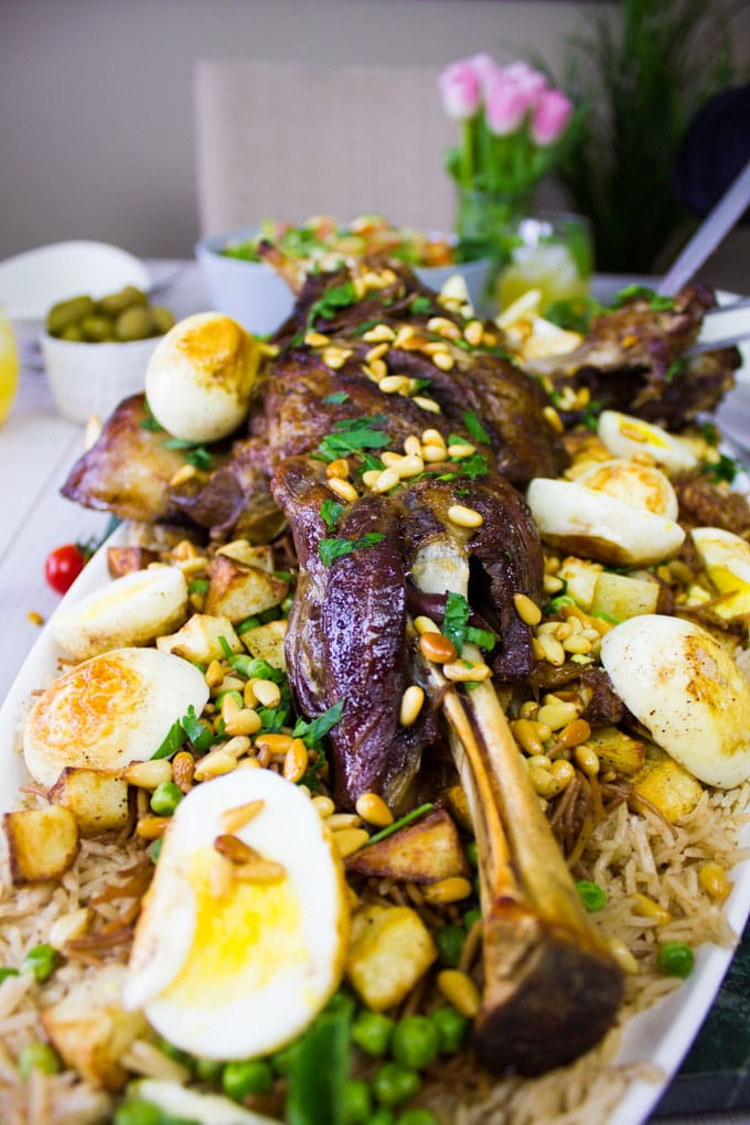 Lamb shoulder recipe over rice and hard boiled eggs
