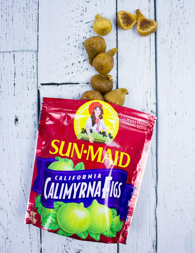 A bag of SunMaid Figs opened showing figs coming out of it