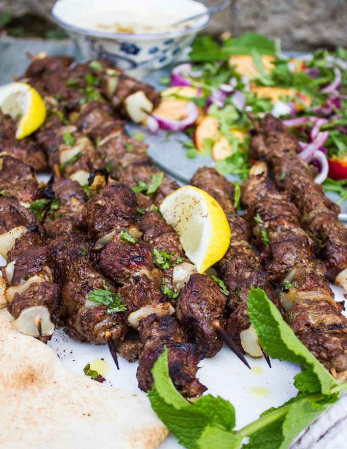 Grilled lamb skewer with tahini sauce