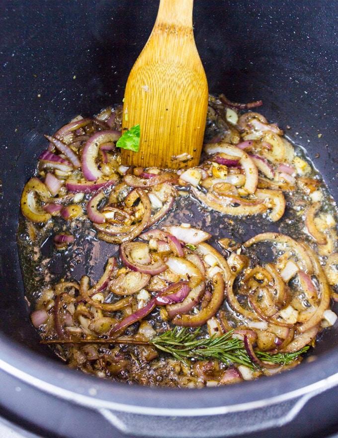 Sautee the onions to make the sauce
