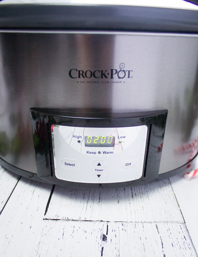Set the crockpot to 2 hours on low
