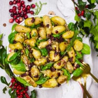 Plate of Potato Salad with spinach, cranberries and hazelnuts and two spoons