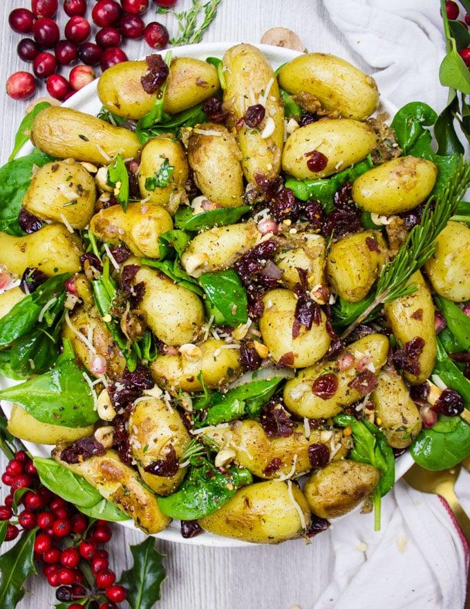 Close up potato salad crispy and soft