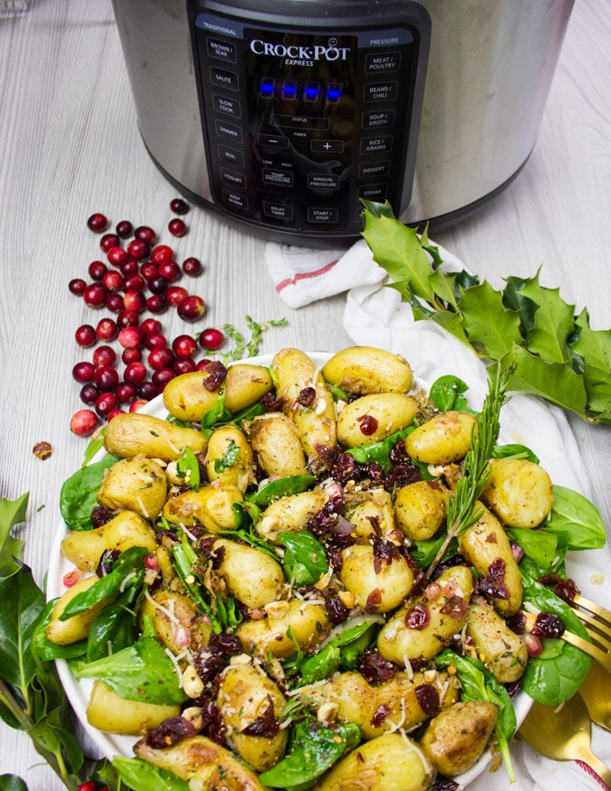 Full Plate of potato salad recipe with the crockpot and cranberries around it, and a tea towel