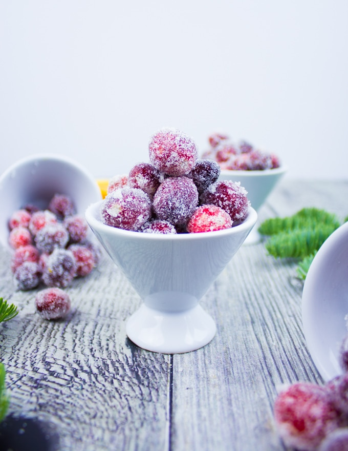 A bowl filled with sugared cranberries