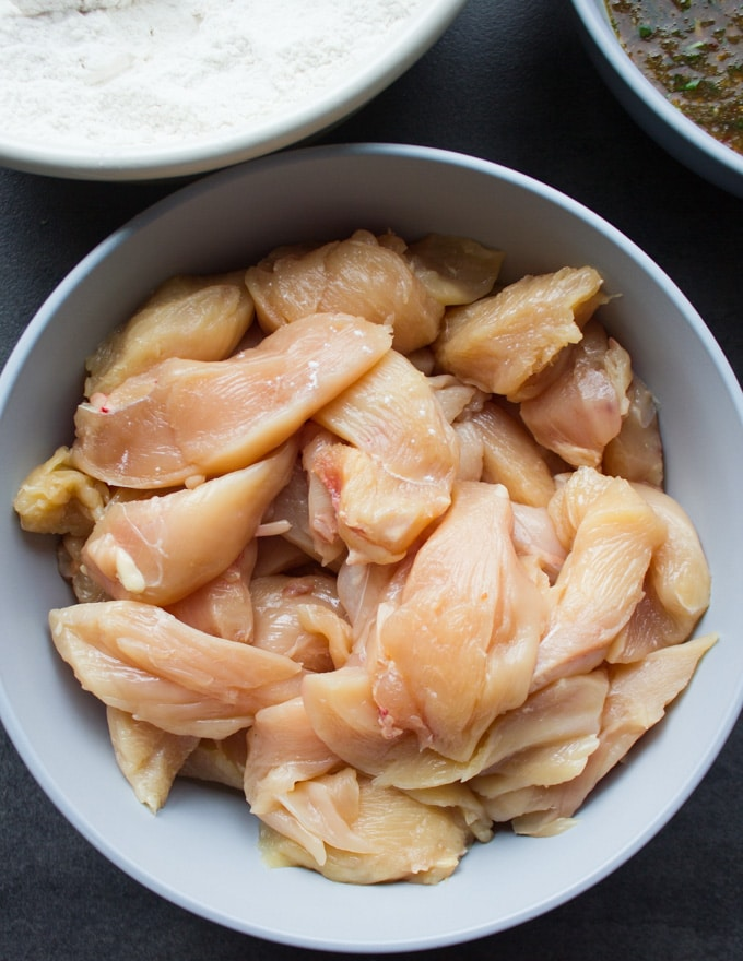 Raw chicken strips in a bowl