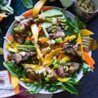 One Thai salad plate all dressed up with peanut dressing and a fork