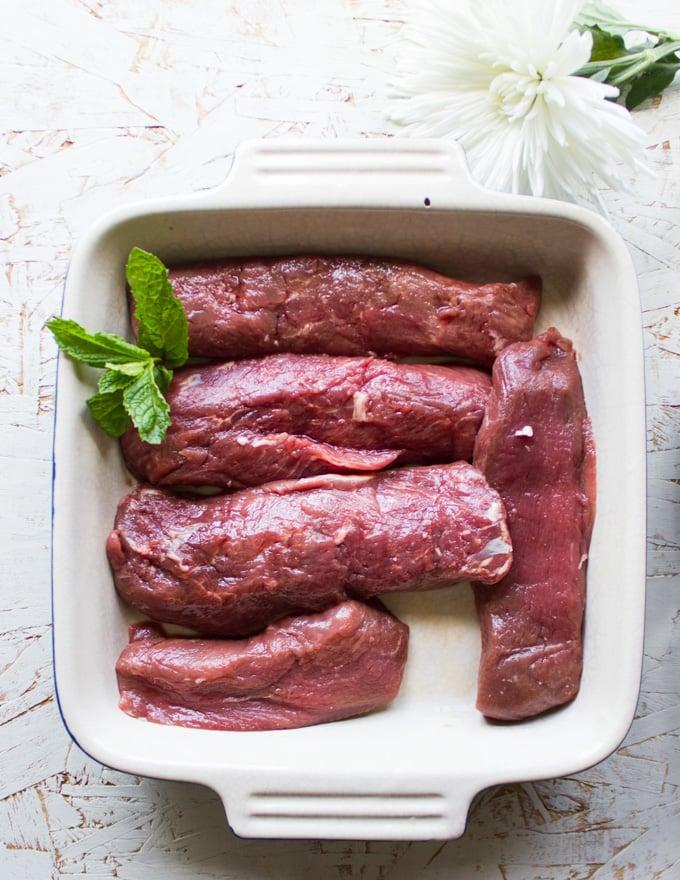 A plate of lamb sirloin