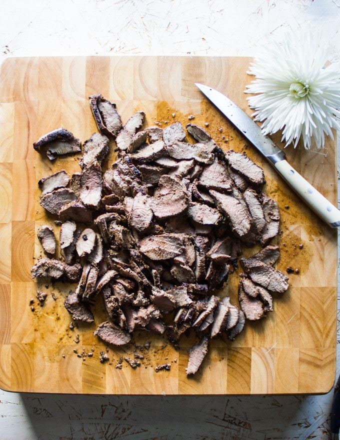 Grilled sirloin sliced thinly and ready for the gyro recipe