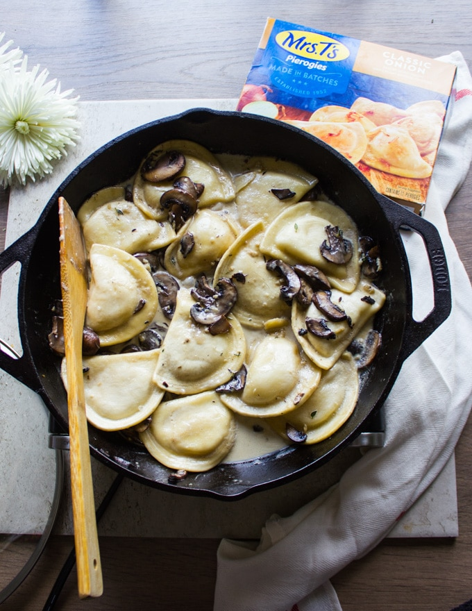 The cream added into the pierogies and mushroom pan