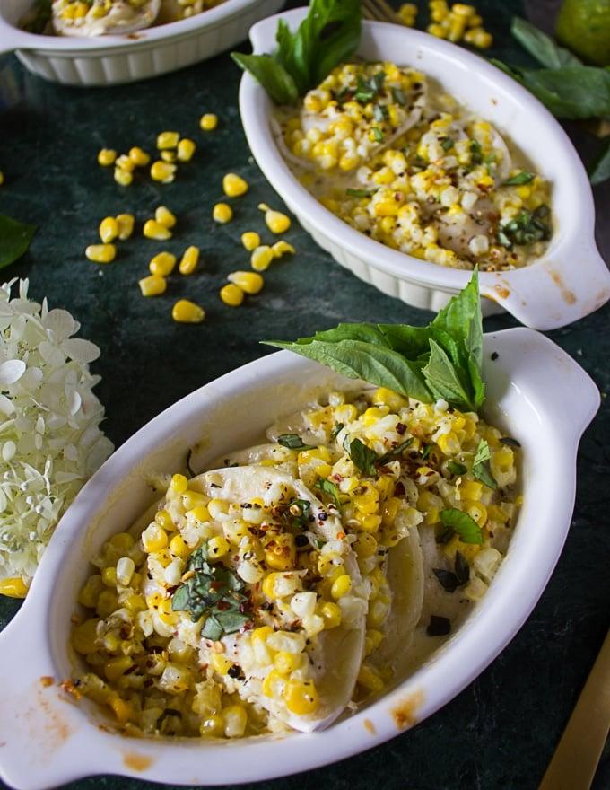 single ramekin with the pierogies and corn in a corn casserole