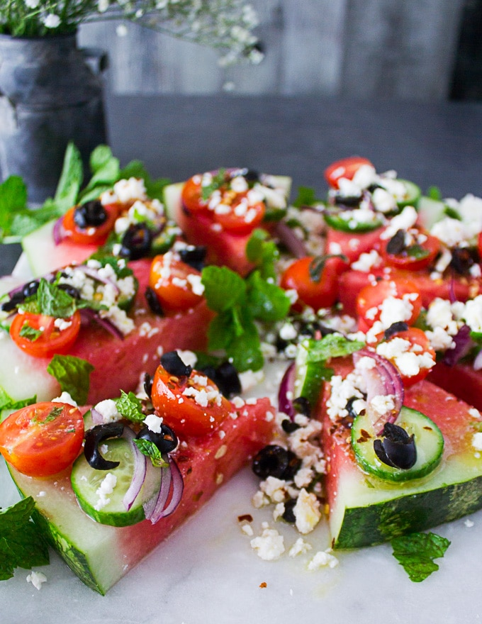 Watermelon salad with Greek toppings on top