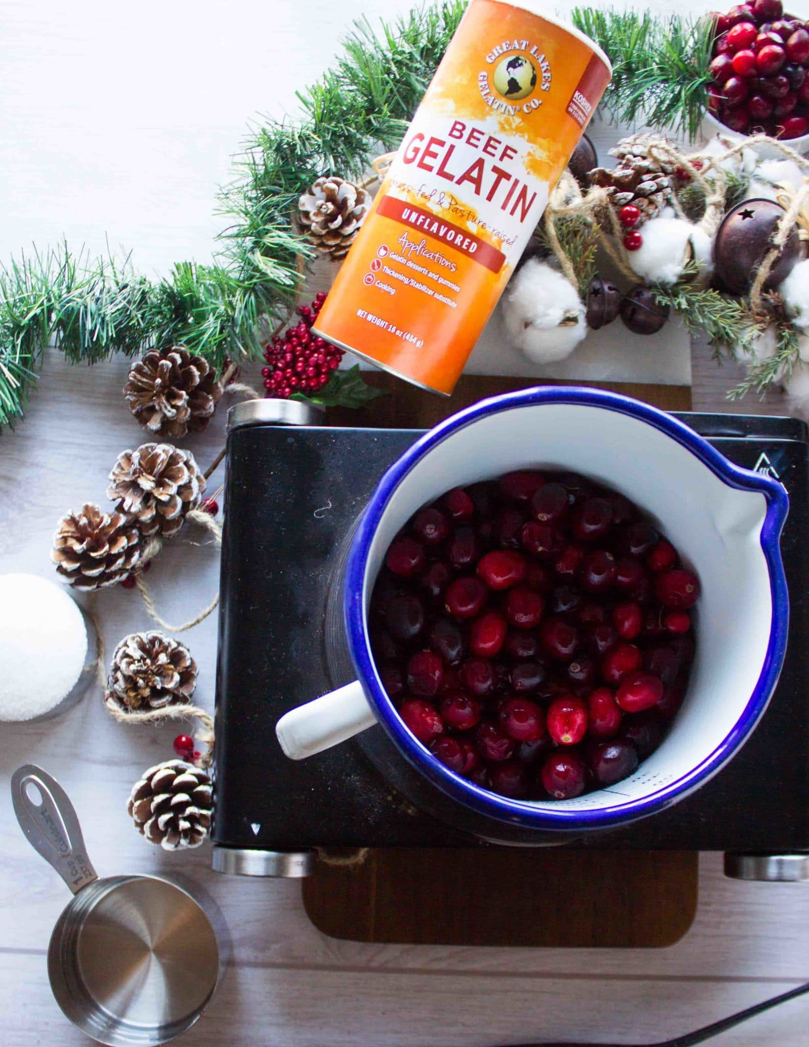 A small cooking pot with the cranberries, water and sugar ready to cook into the sauce