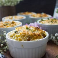 Side view of one sweet potato gratin showing the crunchy golden top