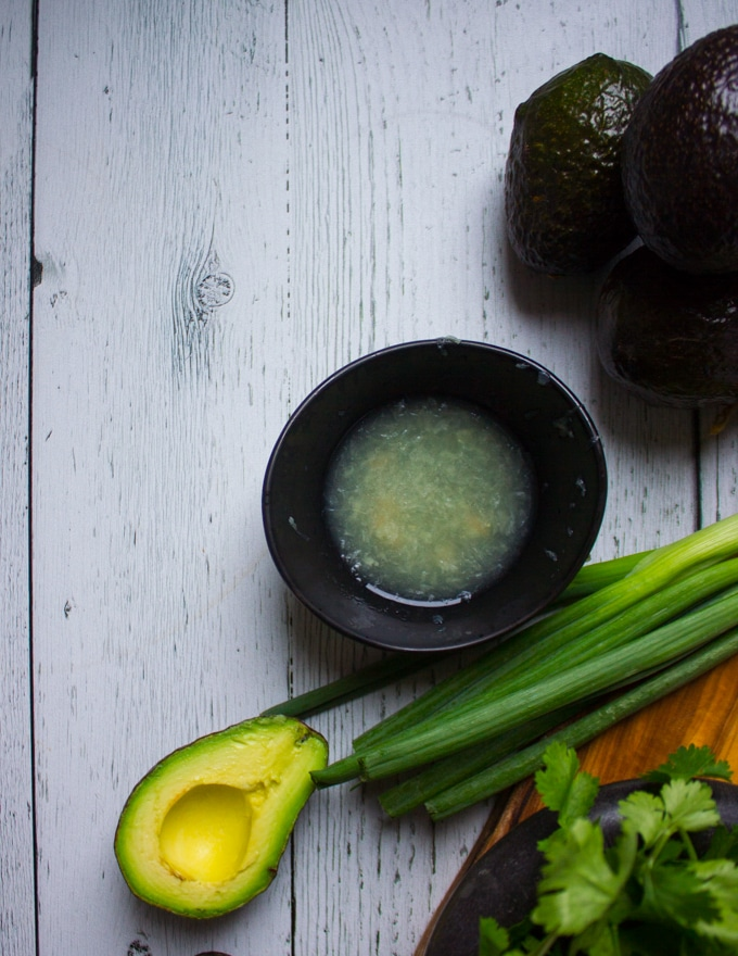 A bowl with lime juice