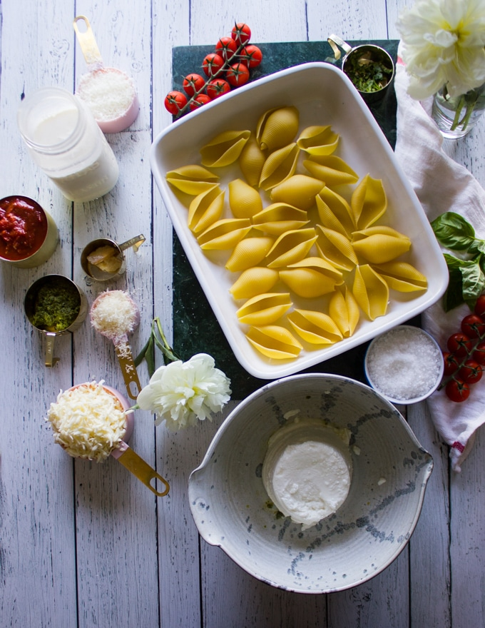 ingredients for stuffed shells recipe.