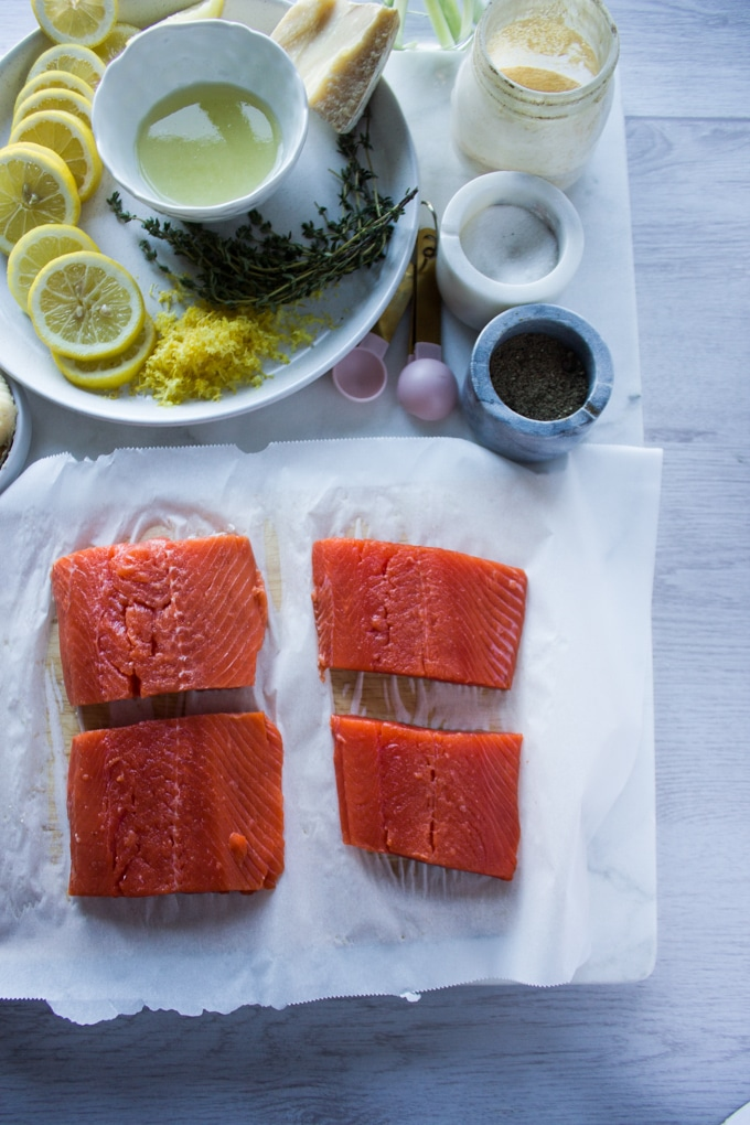 ingredients for sockeye salmon recipe including sockeye salmon, seasoning, lemon juice, butter, lemon zest, flour, stock, fresh thyme