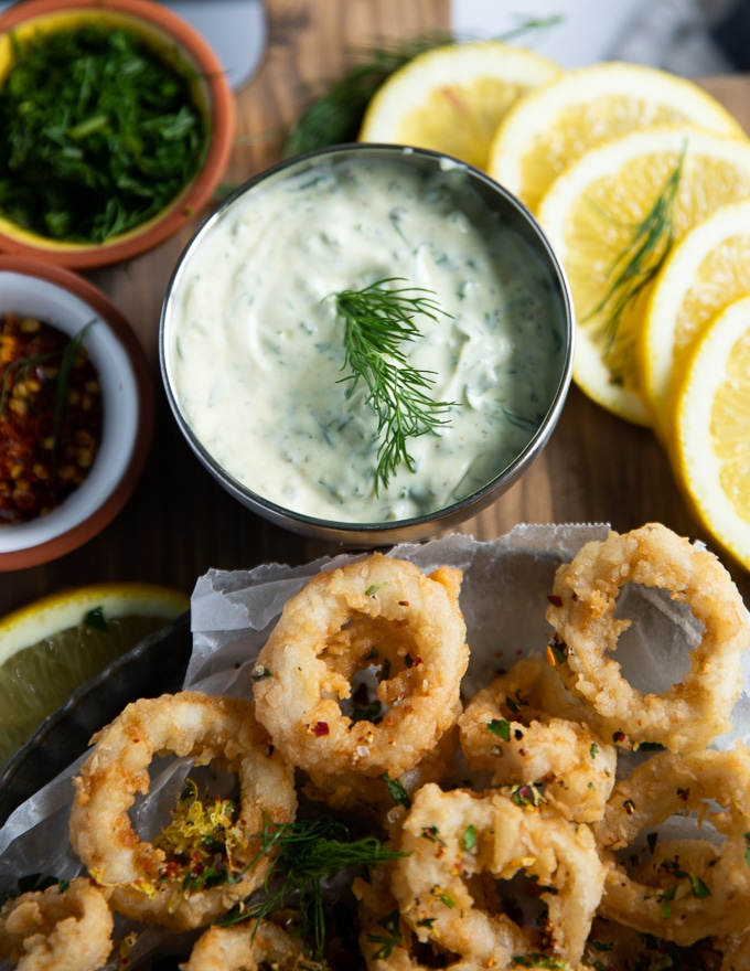 tartar sauce in a dipping cup.