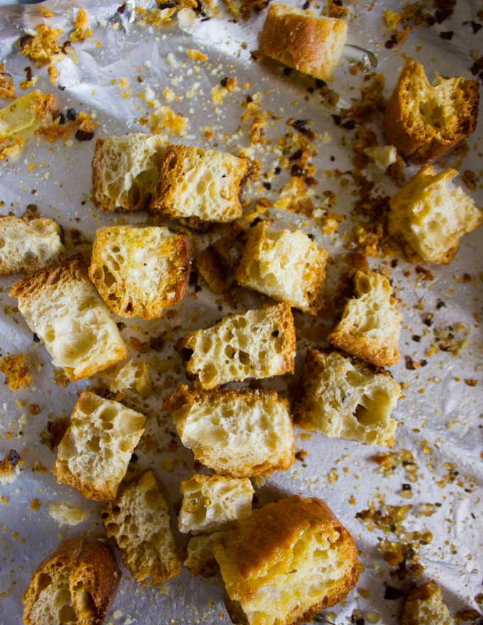 crispy ready homemade croutons out of the oven