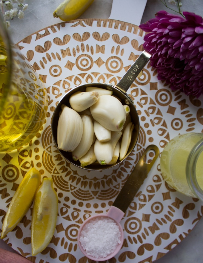 close up of the garlic used for the toum lebanese garlic sauce showing using fresh garlic only