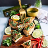 A fork holding off a strip of chicken chimichurri showing how juicy the chicken is and the load of chimichurri sauce over the chicken