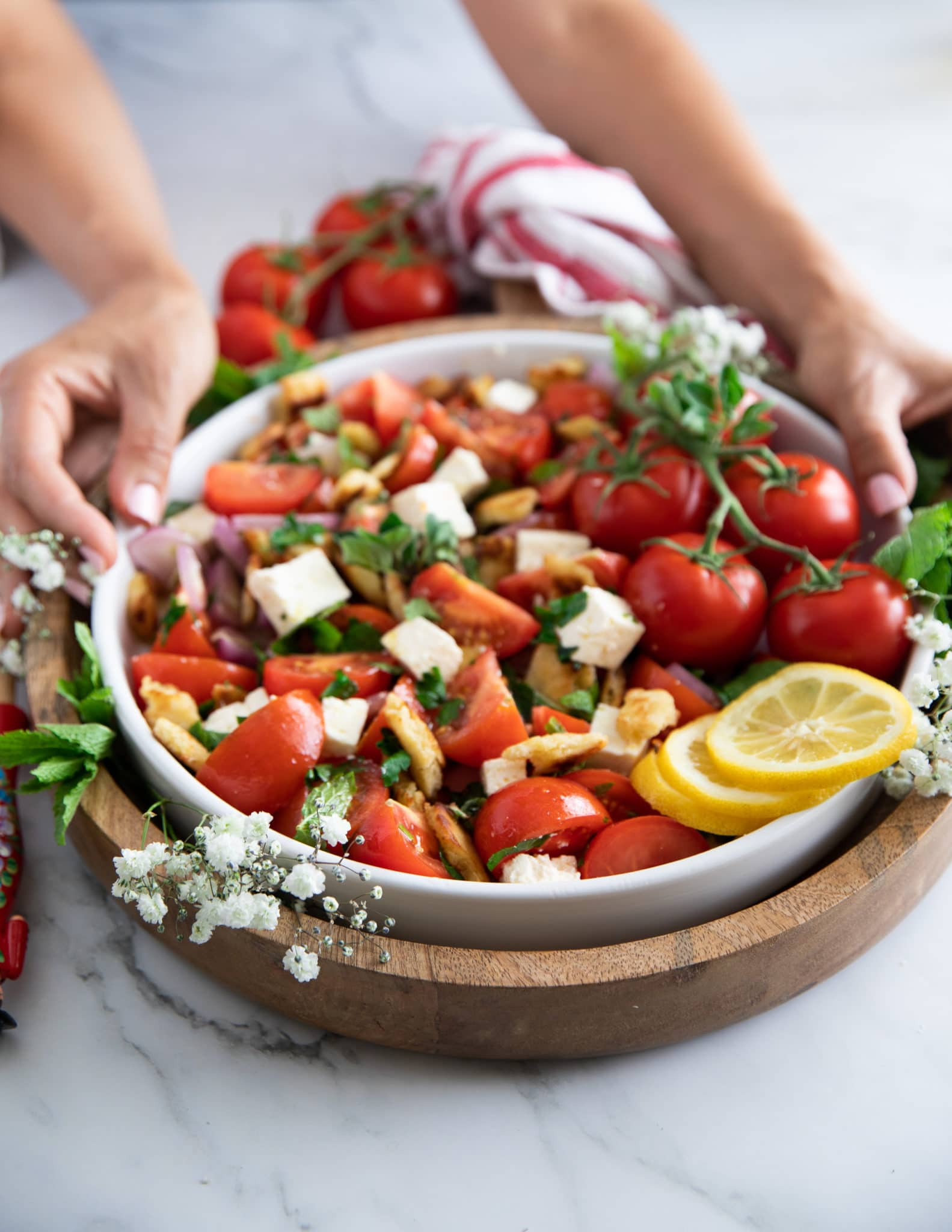 A hand holding a big plate of tomato salad surrounded by a red tea towel