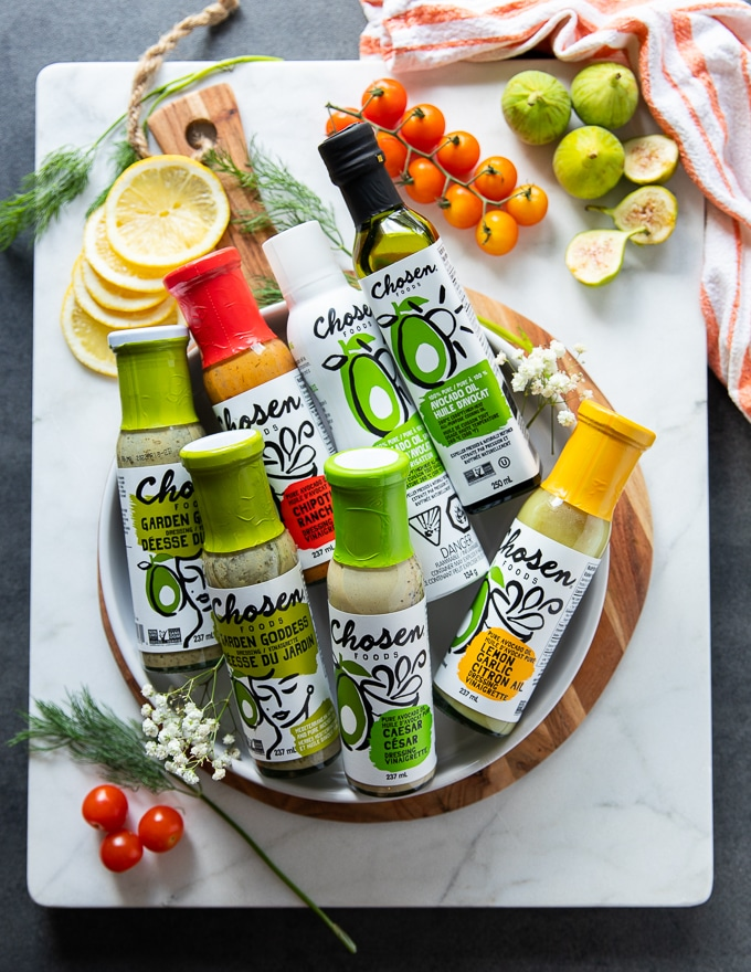 collection of chosen foods salad dressings which are great used to marinade the grilled salmon