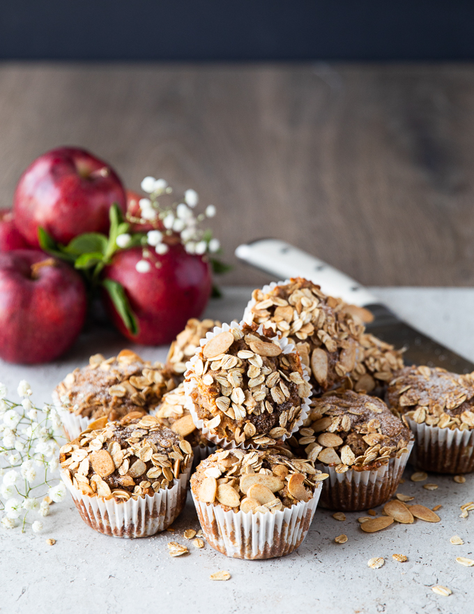 Gorgeous baked healthy apple muffins.